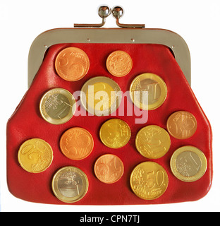 money / finances, coins, portemonnaie from the 1920s with euro coins, Germany, 2007, Additional-Rights-Clearences - Stock Photo