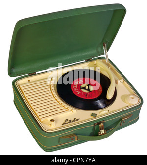 technics, record player, portable record player Telefunken, phono player Lido, plywood case covered with imitation - Stock Photo