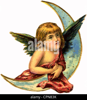 kitsch, angel, little angel with moon, scrap-picture, lithograph, Germany, 1896, Additional-Rights-Clearences-NA - Stock Photo