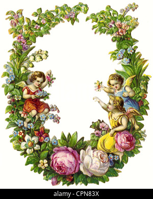 kitsch/cards/souvenir, wreath, scrap-picture, lithograph, Germany, 1897, Additional-Rights-Clearences-NA - Stock Photo