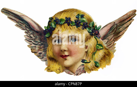 kitsch, angel, scrap-picture, lithograph, Germany, circa 1920, Additional-Rights-Clearences-NA - Stock Photo