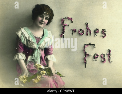 Christmas, 'Frohes Fest' (Merry Christmas), woman with flowers, Germany, 1917, Additional-Rights-Clearences-NA - Stock Photo