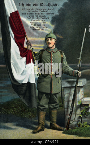 First World War / WWI, soldier, German flag in the colours black-white-red, saying 'Ich bin ein Deutscher' (I am German), Germany, 1915, Additional-Rights-Clearences-Not Available
