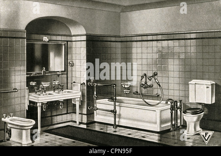 furnishings, bathroom, complete furnishings in a sample exhibition, sanitary furnishings by Robert Kutscher Company, - Stock Photo