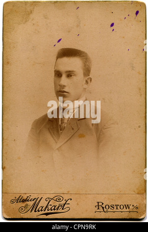 RUSSIA - CIRCA end of the XIX - the beginning of XX century: An antique photo shows Man, Rostov on Don, Russian - Stock Photo