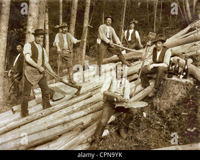 agriculture, forest, lumberman, group picture, Bavaria, Germany, circa 1910, Additional-Rights-Clearences-NA - Stock Photo