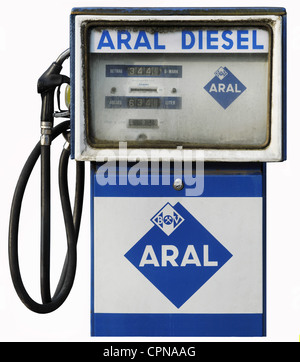 transport / transportation, car, petrol station, Aral petrol pump, diesel, Aral logo used 1952 - 1971, Germany, - Stock Photo