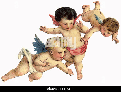 kitsch, three flying little angel, scrap-picture, lithograph, Germany, circa 1900, putt, putto, cherub, angels, - Stock Photo