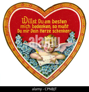 kitsch, heart with angel of love, scrap-picture, lithograph, Germany, circa 1912, Additional-Rights-Clearences-NA - Stock Photo