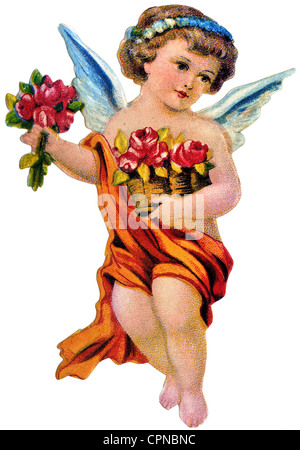kitsch, angel, little angel with flowers, scrap-picture, Germany, circa 1900, Additional-Rights-Clearences-NA - Stock Photo