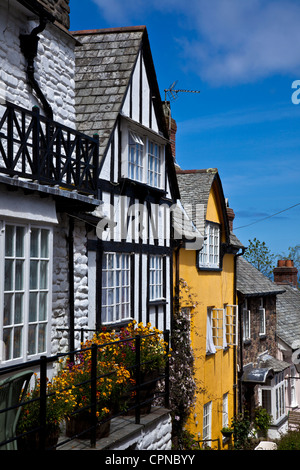 Colourful Cottages in Clovelly North Devon on 'Up-along' - Stock Photo