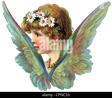 kitsch, angel with blossom in hair, scrap-picture, lithograph, Germany, 1893, Additional-Rights-Clearences-NA - Stock Photo