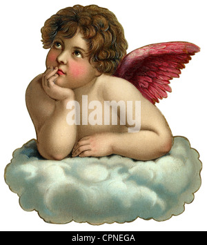 kitsch, angel, little angel on cloud, scrap-picture, Germany, circa 1900, Additional-Rights-Clearences-NA - Stock Photo