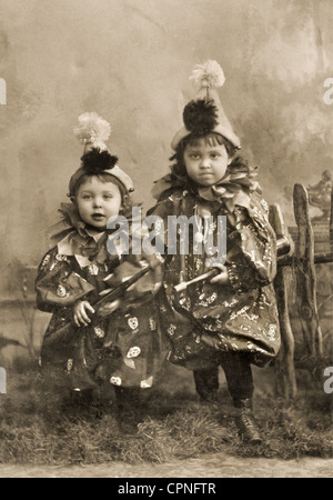 people, children, two children in carnival costume, Munich, Germany, 1900, Additional-Rights-Clearences-NA - Stock Photo