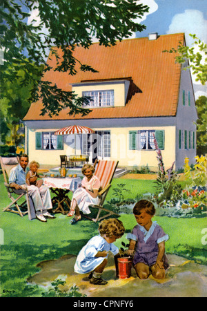 habitation, home, family, playing children, in garden, Germany, circa 1932, Additional-Rights-Clearences-NA - Stock Photo