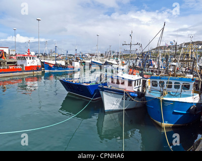 Fishing boats berthed in Mallaig Harbour in the small town of Mallaig on the west coast of Highland Scotland - Stock Photo