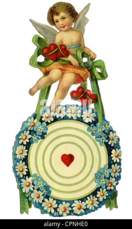 kitsch / souvenir, Cupid with target, scrap-picture, Germany, circa 1900, Additional-Rights-Clearences-NA - Stock Photo