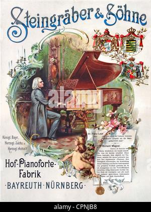 Liszt, Franz, 22.10.1811 - 31.7.1886, Hungarian musician (composer, pianist), full length, at his Steingraeber grand - Stock Photo