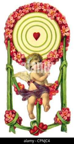 kitsch/cards/souvenir, Cupid, scrap-picture, lithograph, Germany, circa 1900, Additional-Rights-Clearences-NA - Stock Photo