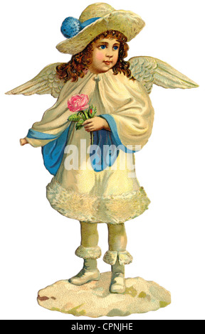 kitsch/cards/souvenir, little angel in winter clothes, scrap-picture, lithograph, Germany, circa 1890, Additional - Stock Photo