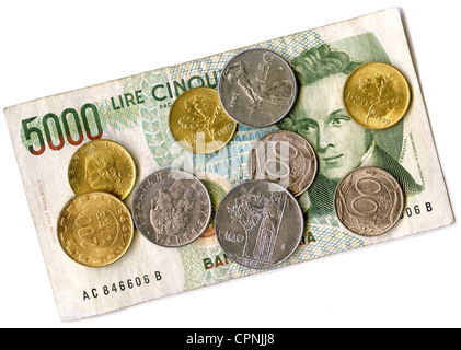 money / finances, coins, Italy, 1961 bis 1998, Italian Lira, means of payment until 2001, from 20 - 5000 Lira, banknote, - Stock Photo