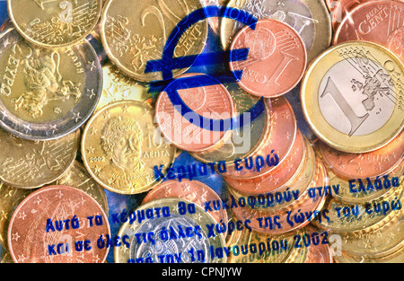 money / finances, coins, Greece, Euro Starterkit Greece, starter kit launched by the banks in the December 2001, - Stock Photo