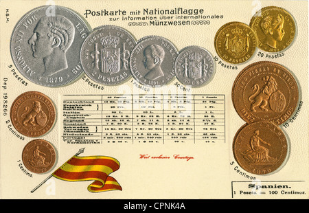 money / finances, coins, Germany, Spain, circa 1899, Spanish coins, Centimos and peseta, postcard out of the series - Stock Photo