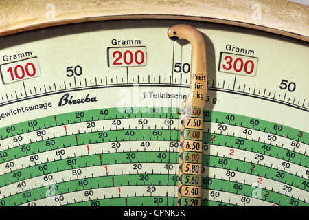 measure, Bizerba, precision scales, detail: dial, Germany, circa 1951, Additional-Rights-Clearences-NA - Stock Photo