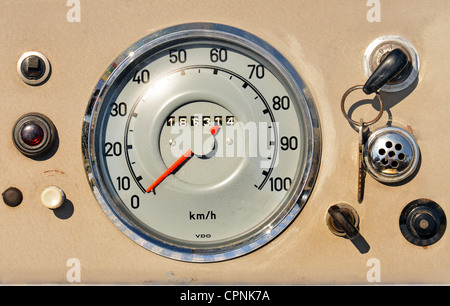 technics, mileage indicator, VDO speedometer, Germany, circa 1956, switch, switches, lever, levers, button, buttons, - Stock Photo