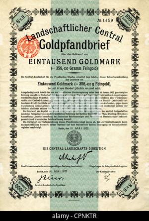 money / finances, stocks, gold bond, Landwirtschaftlicher Central Goldpfandbrief about the cash value of one thousand - Stock Photo