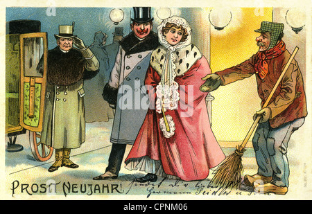 society, 'Prosit Neujahr!' (Happy New Year), street sweeper wishes a happy new year to a rich couple, begging for - Stock Photo