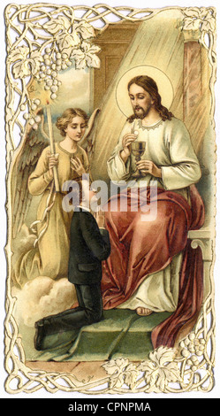 religion, Christianity, communion, souvenir of the first Holy communion, Jesus Christ, with calyx and sacramental - Stock Photo