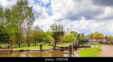 The lock on the river wey at Pyrford, surrey. - Stock Photo