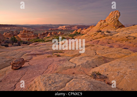 Multi-colored, patterned sandstone formations in South Coyote Buttes, Arizona - Stock Photo