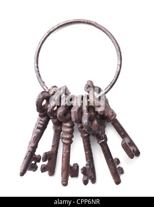 bunch of antique keys isolated on white background - Stock Photo