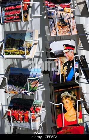 Royal Family postcards for sale, London, England - Stock Photo