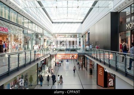 An internal shot of Manchester Arndale shopping centre mall located in the city centre. - Stock Photo