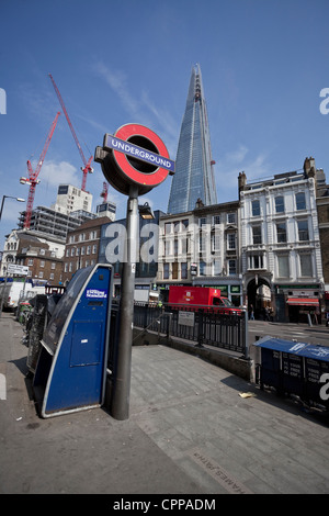 The Shard seen from one of the entrances to the London Bridge Underground Station, London, England, UK - Stock Photo