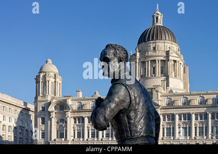 Statue of Captain F.J. Walker CB DSO by Tony Murphy Pier Head Liverpool with Royal Liver Building & Cunard building - Stock Photo