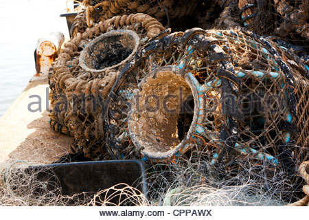 Lobster Pots on the Quayside. - Stock Photo