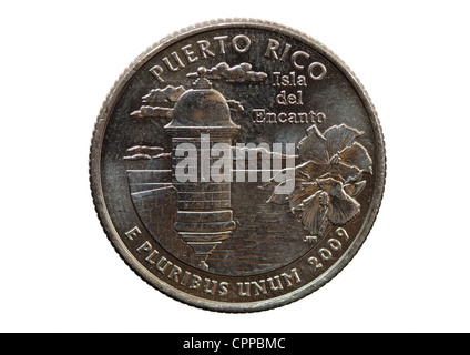 Puerto Rico United States quarter coin isolated on white background - Stock Photo