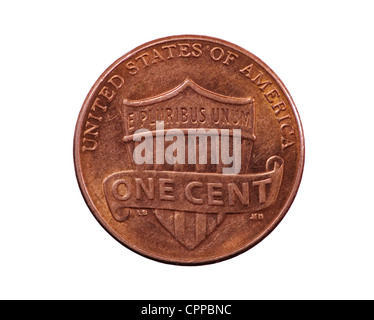 United States penny coin reverse with union shield design - Stock Photo