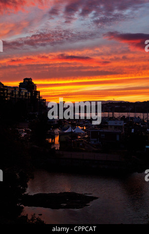 Sunset over Fisherman's Wharf in Victoria, BC, Canada - Stock Photo