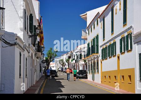 Carrer de Les Escoles, Fornells, Menorca, Balearic Islands, Spain - Stock Photo