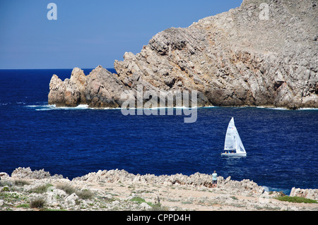 Coastal view from Torre de Fornells, Fornells, Menorca, Balearic Islands, Spain - Stock Photo