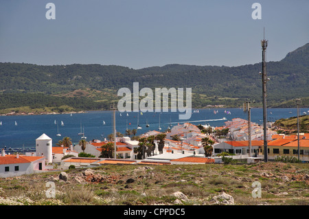 View of village from Torre de Fornells, Fornells, Menorca, Balearic Islands, Spain - Stock Photo
