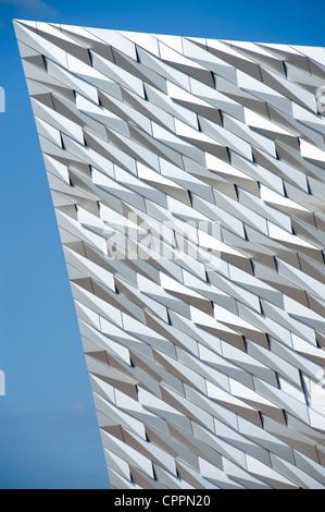 Cladding on the new Titanic Museum, Belfast. - Stock Photo