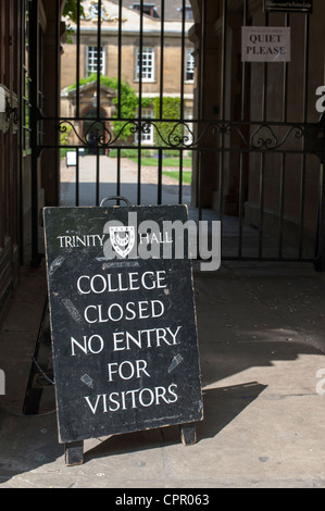 Trinity Hall college Cambridge University with closed for visitors sign outside. Closed during exam period - Stock Photo