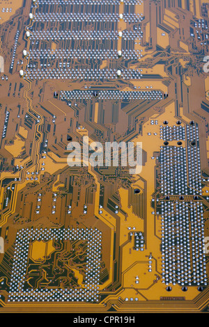 Match integrated photo of brown motherboard computer - Stock Photo