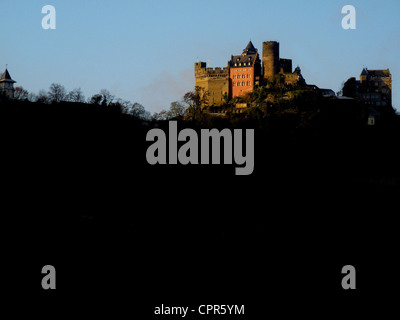 Schonburg Castle, near Oberwesel, Rhine River, Germany - Stock Photo